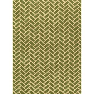 Herringbone Green Hand-hooked Rug (2' x 3')