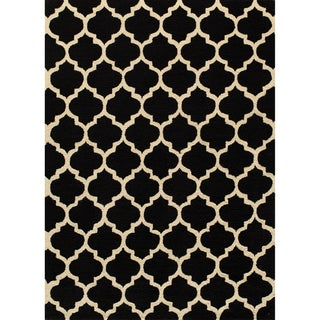 Hand-hooked Casablanca Black Polyester Rug