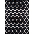 Hand-hooked Casablanca Black Polyester Rug