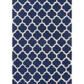 Hand-hooked Casablanca Blue Polyester Rug