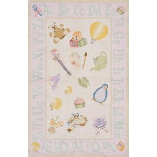 Momeni 'Lil Mo Classic Toys' Pink Cotton Rug