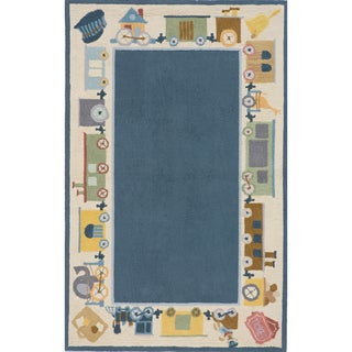 Momeni 'Lil Mo Cho Cho Train' Blue Cotton Rug