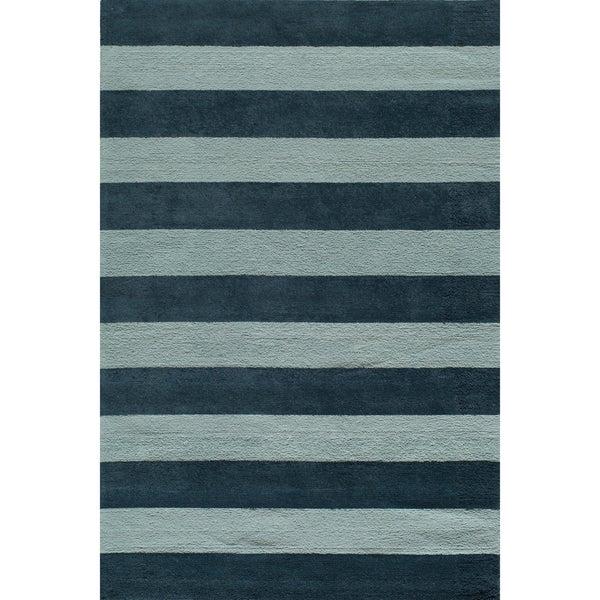 Momeni 'Lil Mo Classic Cabana Stripe Blue Cotton Rug