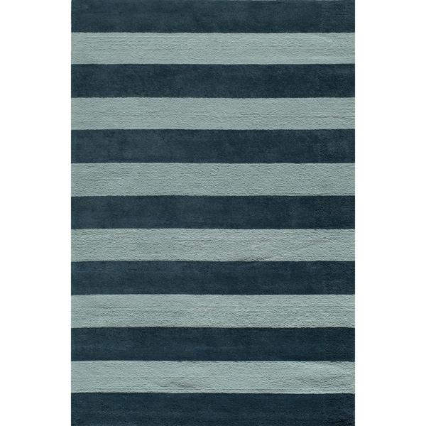Momeni 'Lil Mo Classic Cabana Stripe Blue Cotton Rug (2' x 3')