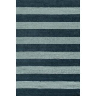 Momeni 'Lil Mo Cabana Strip' Blue Cotton Rug