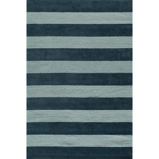 Momeni 'Lil Mo Cabana Strip' Blue Cotton Rug