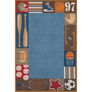 Momeni 'Lil Mo Sports Blue Rug (2' x 3')