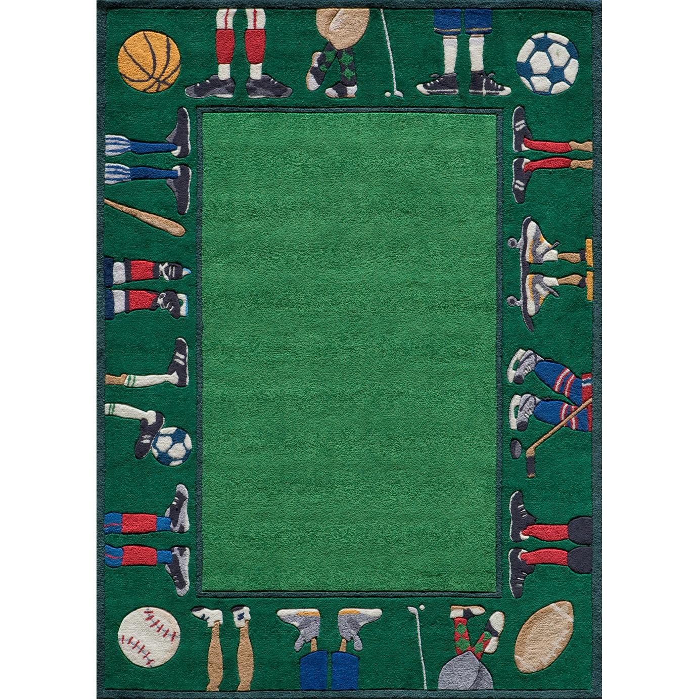 Momeni Hand-tufted Momeni Lil Mo Sports Stars Green Rug