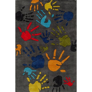 Hand-tufted Momeni Lil Mo Fingerpaint Grey Rug