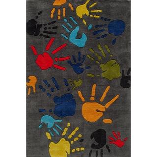Momeni 'Lil Mo Fingerpaint Grey Rug (2' x 3')