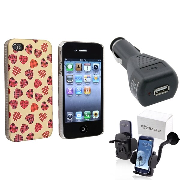 BasAcc Creamy Case/ Black Car Charger/ Mount for Apple® iPhone 4/ 4S
