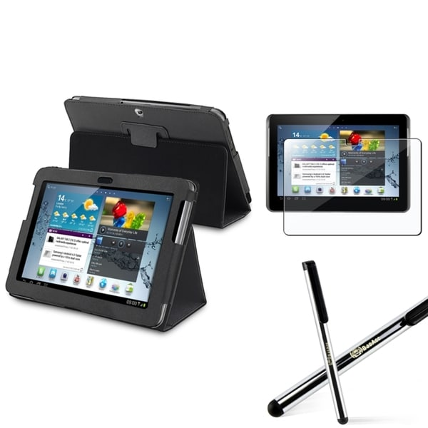 INSTEN Black Tablet Case Cover/ Screen Protector/ Stylus for Samsung Galaxy Tab 2 10.1