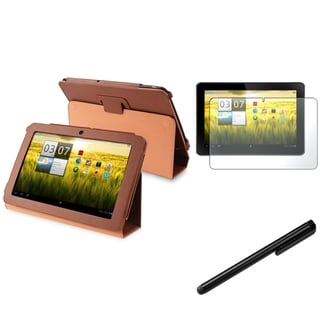BasAcc Brown Case/Anti-Glare Screen Protector/Stylus for Acer Iconia Tab A200