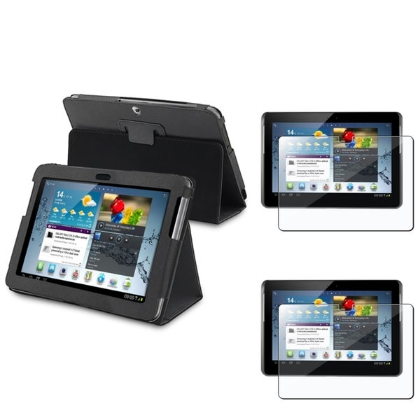 INSTEN Black Synthetic Leather Tablet Case Cover/ Screen Protector for Samsung Galaxy Tab 2 10.1