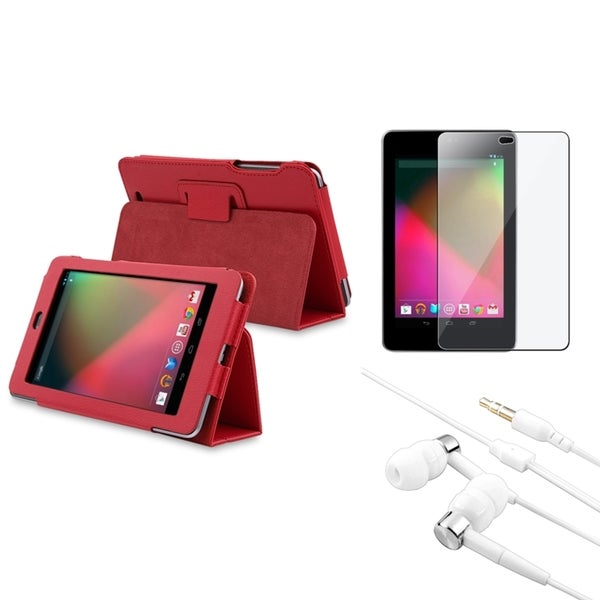 BasAcc Red Case/ Screen Protector/ Headset for Google Nexus 7