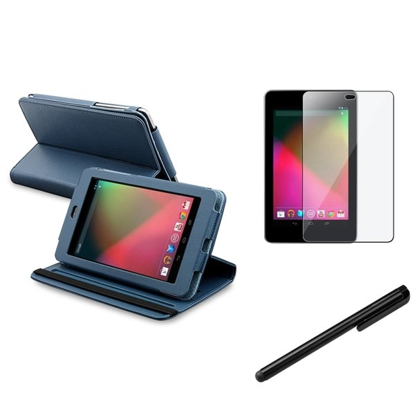 BasAcc Blue-Leather Case/Screen Protector/Stylus for Google Nexus 7