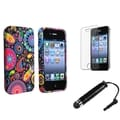 BasAcc Black with Colorful Fish and Circles Case/Screen Protector/Stylus for Apple iPhone 4/4S