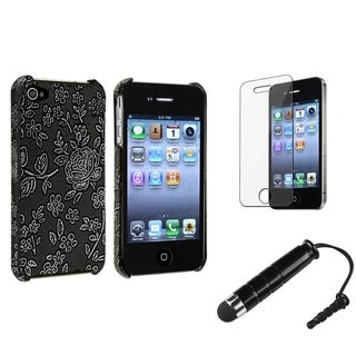 BasAcc Black TPU Case/Screen Protector/Stylus for Apple iPhone 4/4S