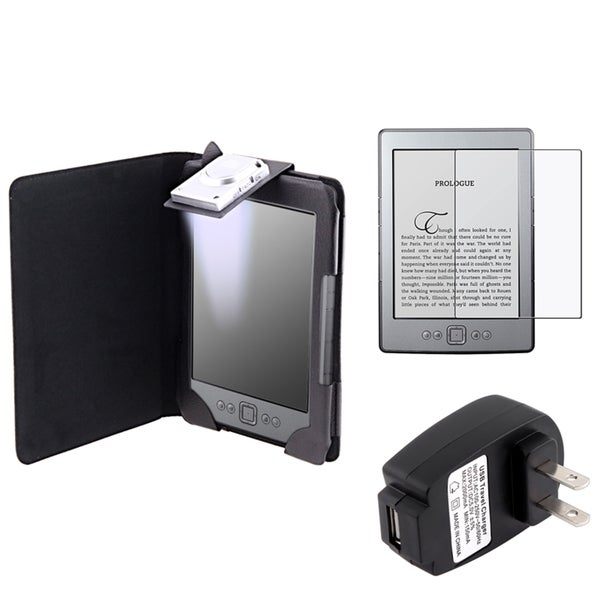 INSTEN Black Phone Case Cover/ Screen Protector/ Charger for Amazon Kindle 4