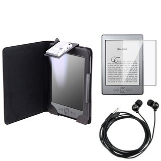 BasAcc Black Case/ Screen Protector/ Headset for Amazon Kindle 4