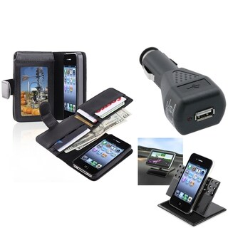 INSTEN Black Phone Case Cover/ Black Car Charger/ Holder for Apple iPhone 4/ 4S