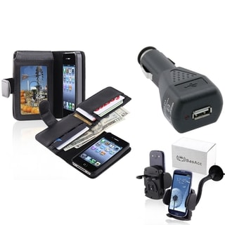 BasAcc Black Case/ Black Car Charger/ Mount for Apple� iPhone 4/ 4S