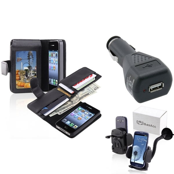 INSTEN Black Phone Case Cover/ Black Car Charger/ Mount for Apple iPhone 4/ 4S