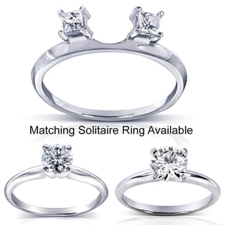 Annello 14k White Gold Princess Cut Diamond Wrap or Round Cut Solitaire Ring (H-I, I1-I2)