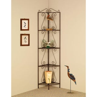 Five-tier Copper Finished Metal Corner Display Bookshelf