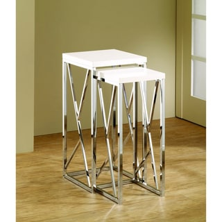 Functional White Chrome-Finish Nesting End Tables (Set of 2)