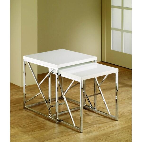 White Chrome Finish Nesting End Tables (Set of 2)