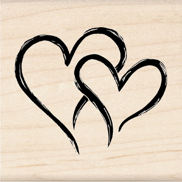 Inkadinkado Seasonal Mounted Rubber Stamp-Two Hearts In One