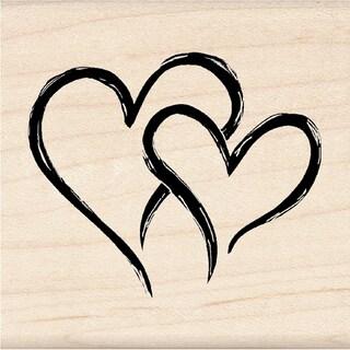 Inkadinkado Seasonal Mounted Rubber Stamp-Two Hearts In One