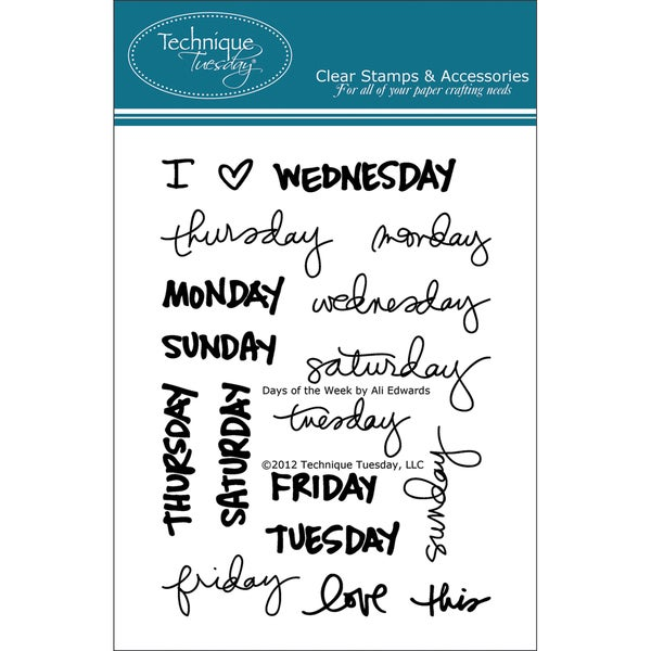 """Technique Tuesday Clear Stamps 3""""X4""""-Days Of The Week"""