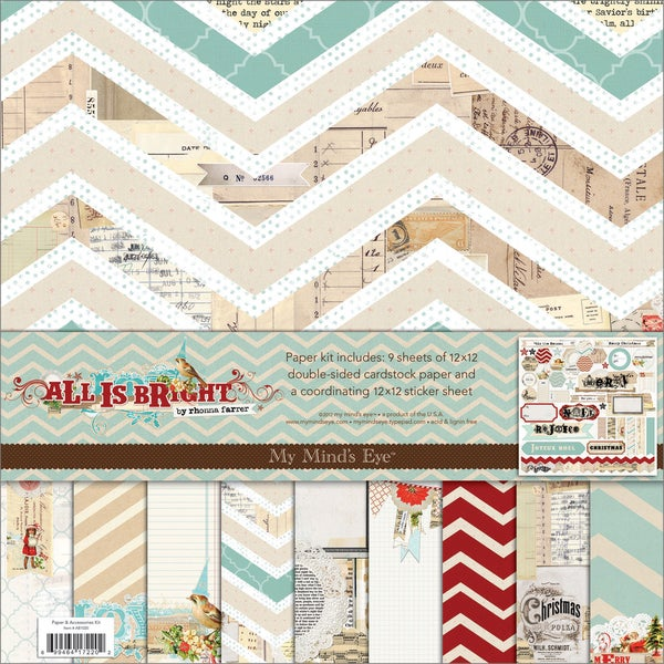 """All Is Bright Paper & Accessories Kit 12""""X12""""-"""