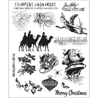 Tim Holtz Large Cling Rubber Stamp Set-Mini Holiday #4