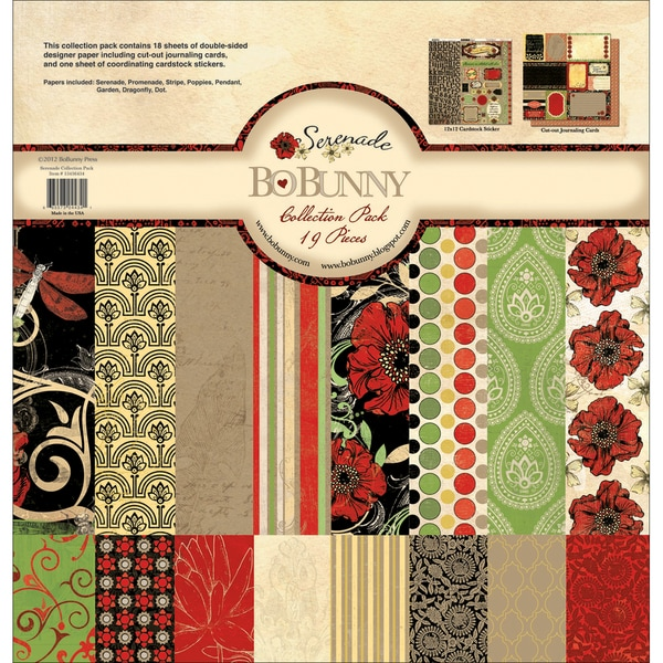 "Serenade Collection Pack 12""X12""-18 Double-Sided Papers + Sticker Sheet"