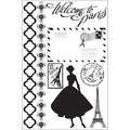 "Welcome To Paris Cling Stamps 4""X6""-"