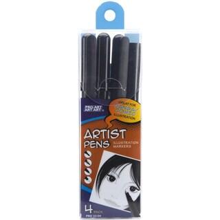 Pro Art Black Artist Pens 4/Pkg