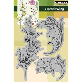 "Penny Black Cling Rubber Stamp 5""X7-1/2""-Delicate Florals"