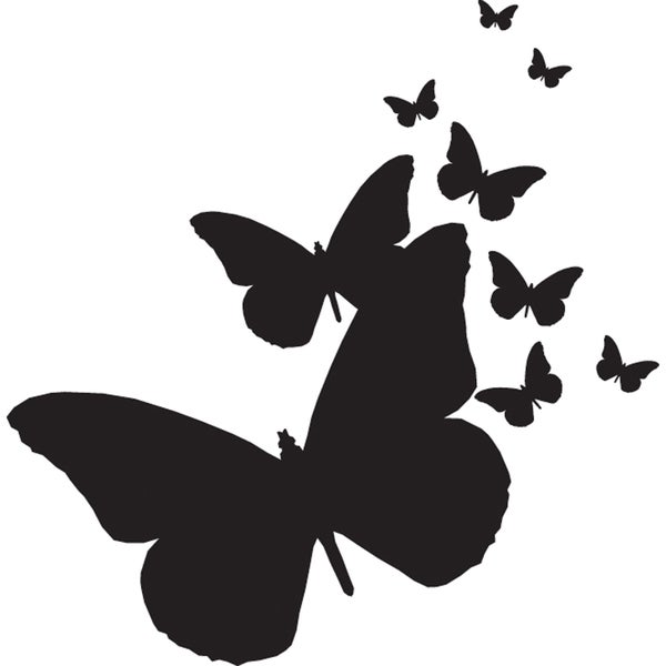 """Mounted Rubber Stamp 2.5""""X2.5""""-Butterflies Silhouettes"""
