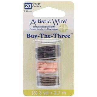 Artistic Wire Buy The Three 3/Pkg-20 Gauge Black/Natural/Gunmetal 3 Yd/Ea