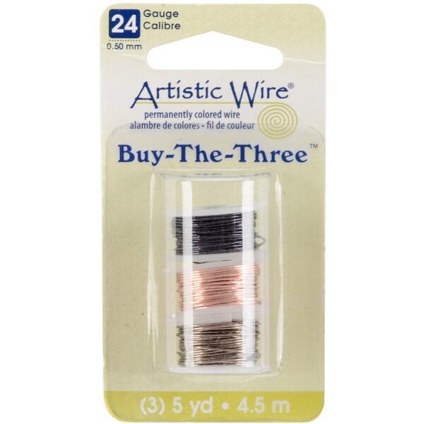 Artistic Wire Buy The Three 3/Pkg-24 Gauge Black/Natural/Gunmetal 5 Yd/Ea
