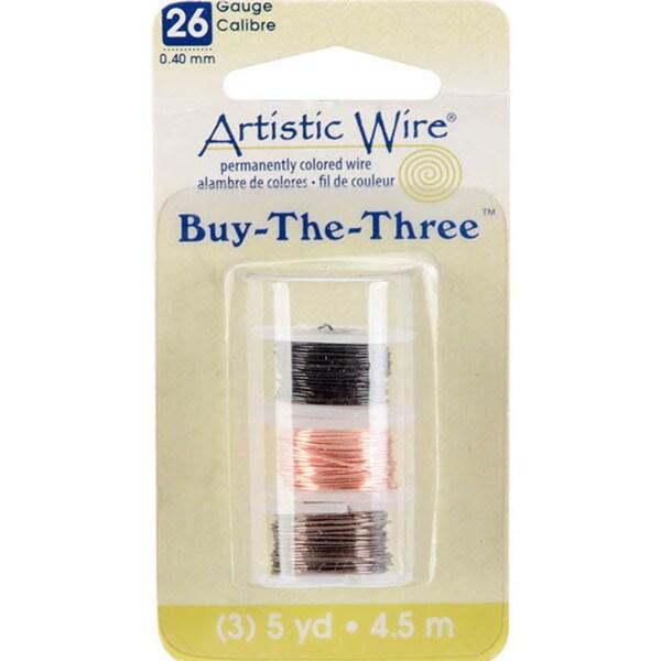 Artistic Wire Buy The Three 3/Pkg-26 Gauge Black/Natural/Gunmetal 5 Yd/Ea