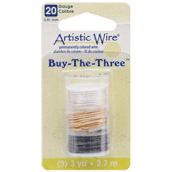 Artistic Wire Buy The Three 3/Pkg-20 Gauge Silver/Brass/Hematite 3 Yd/Ea
