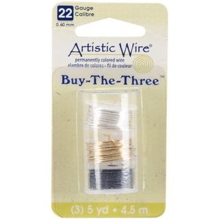 Artistic Wire Buy The Three 3/Pkg-22 Gauge Silver/Brass/Hematite 5 Yd/Ea