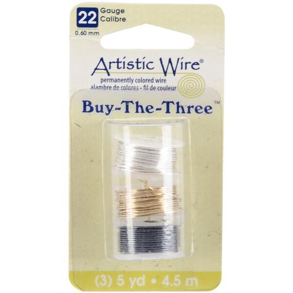 Artistic Wire Buy The Three 3/Pkg-22 Gauge Silver/Brass/Hematite 5 Yd/Ea