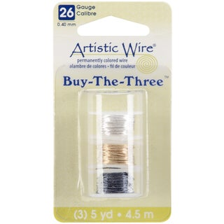 Artistic Wire Buy The Three 3/Pkg-26 Gauge Silver/Brass/Hematite 5 Yd/Ea