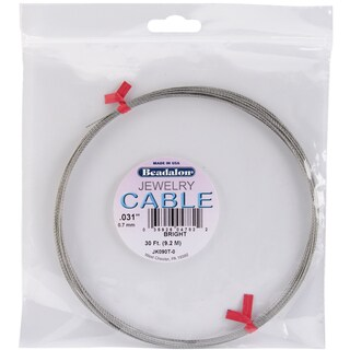 "Jewelry Cable .031"" Diameter 30 Feet/Pkg-Bright"