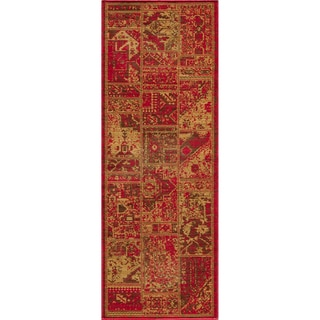 Hamadan Patchwork Sunset Red Wool Rug